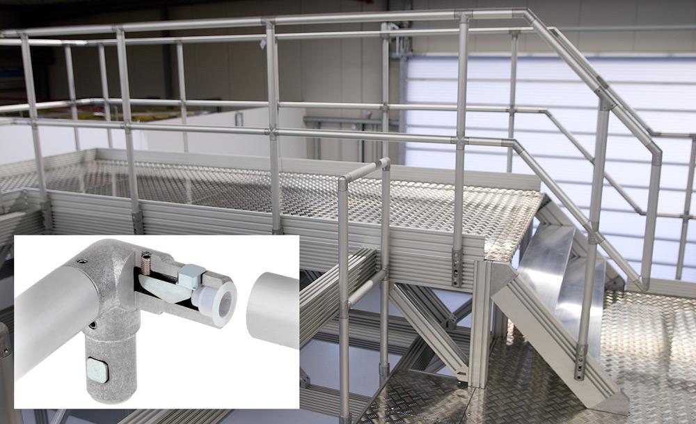 Räcken, trappor och arbetsplattformar är enkla att skapa med hjälp av ITAS-rörkopplingssystem