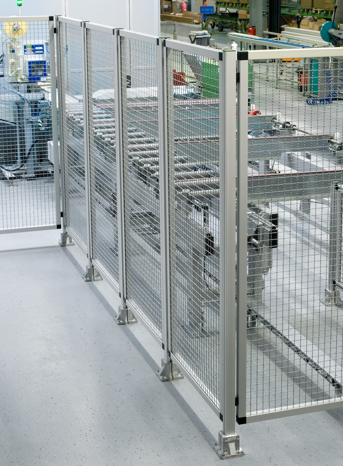 Visually attractive safety guard system made of aluminium profiles