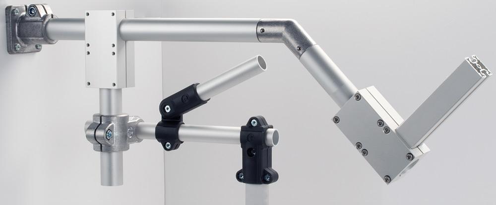 Kläm-/rörkopplingar av aluminium, plast eller rostfritt stål för förenklad montering och maximal flexibilitet