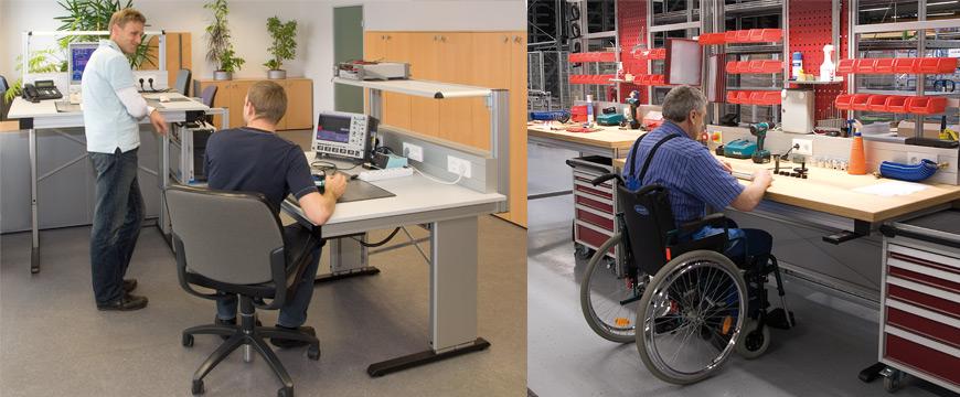 Ergonomiskt anpassningsbara (höjdjusterbara) sitt/stå-arbetsstationer