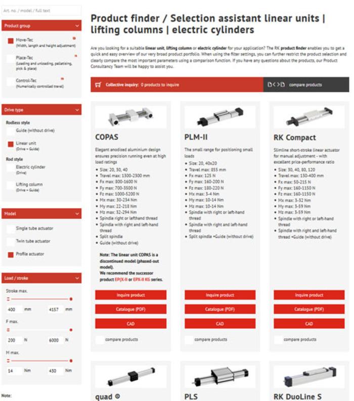 Produktsökning linjärteknik: linjärenheten | lyftpelare | elektriska cylindrar