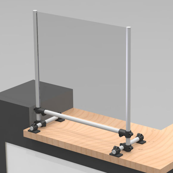 Sneeze / droplet guard as attachment on a counter