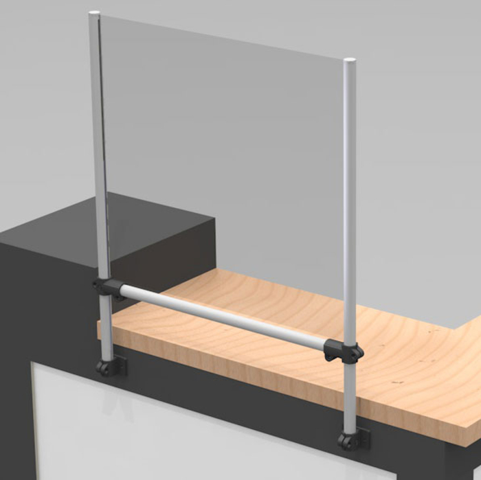 Sneeze / droplet guard with front table fastening